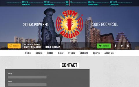 Screenshot of Contact Page sunradio.com - Contact « - captured Feb. 12, 2016