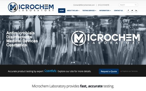 Screenshot of Home Page microchemlab.com - Home | Microchem Laboratory - captured Jan. 16, 2019