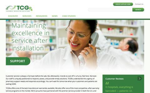 Screenshot of Support Page tcgrx.com - Pharmacy Support   TCGRx - captured Jan. 11, 2018