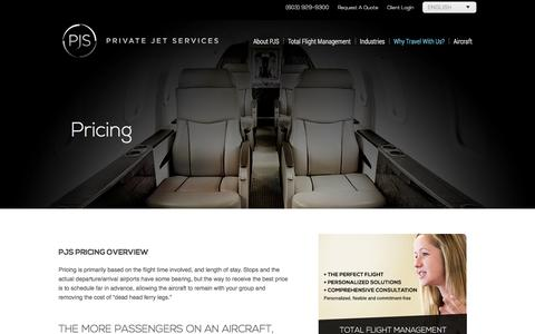 Screenshot of Pricing Page pjsgroup.com - Pricing - Private Jet Services - captured Oct. 3, 2014