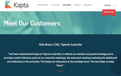 Screenshot of Testimonials Page kapta.com - Our Customers | Enterprise Goal Management | Kapta - captured Nov. 3, 2014