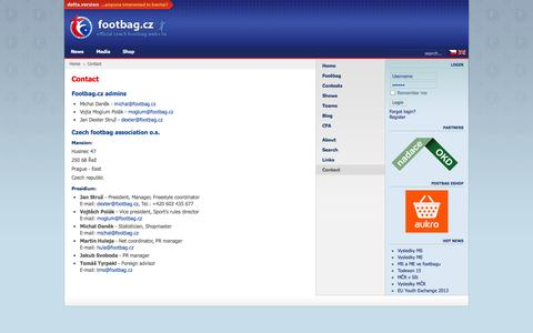 Screenshot of Contact Page footbag.cz - Footbag.cz - Contact - captured Oct. 3, 2014