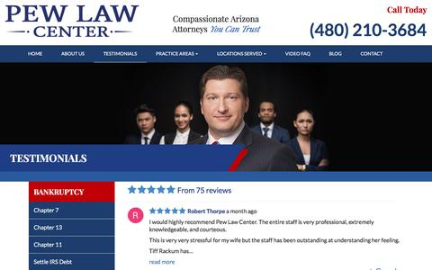 Screenshot of Testimonials Page pewlaw.com - Testimonials | Pew Law Center, PLLC - captured Sept. 25, 2018
