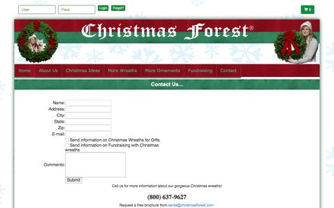 Screenshot of Contact Page christmasforest.com - Contact Christmas Forest for Christmas Wreaths - captured July 13, 2016