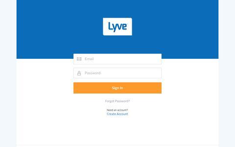 Screenshot of Signup Page mylyve.com - Lyve: Login - captured Nov. 17, 2015