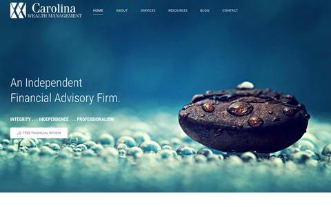 Screenshot of Home Page mycarolinawealth.com - Financial Advisor North Carolina - captured Sept. 25, 2018