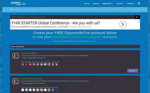 Screenshot of Signup Page caymanactive.com - Join the CaymanActive Community - captured April 19, 2018