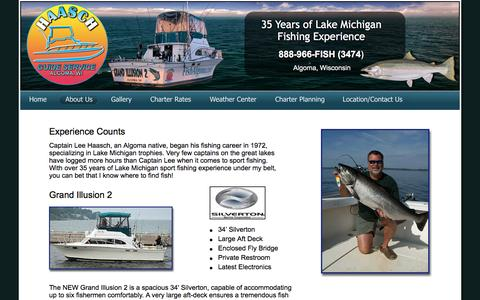 Screenshot of About Page fishalgoma.com - Haasch Guide Service, Algoma fishing charter, Algoma fishing services, Lake Michigan fishing, lake Michigan charter, fishing charter - captured Oct. 17, 2016