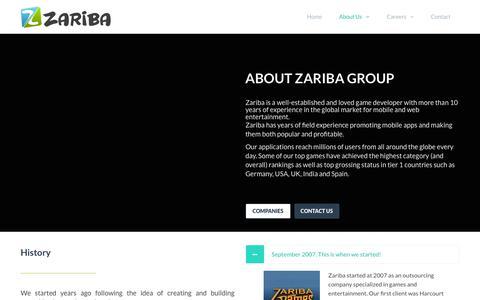 Screenshot of About Page zariba.com - About Us - Zariba Group - captured Oct. 19, 2018