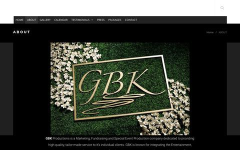 Screenshot of About Page gbkproductions.com - ABOUT - captured June 16, 2019