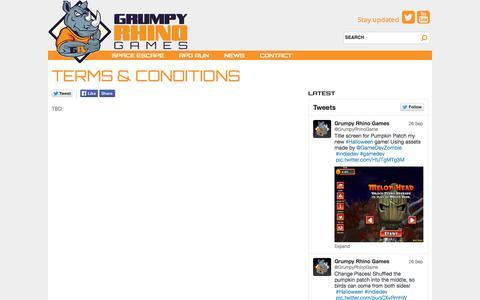 Screenshot of Terms Page grumpyrhinogames.com - Terms & Conditions | Grumpy Rhino Games Grumpy Rhino Games - captured Sept. 30, 2014