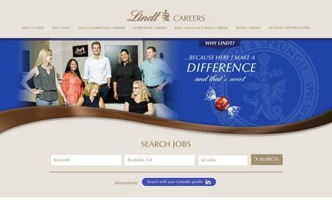 Screenshot of Jobs Page lindtusa.com - Working at LINDT & SPRUNGLI USA - captured Feb. 27, 2017