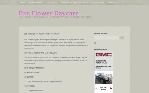 Screenshot of Jobs Page funflowerdaycare.com - Fun Flower Daycare - Jobs - captured Jan. 8, 2016