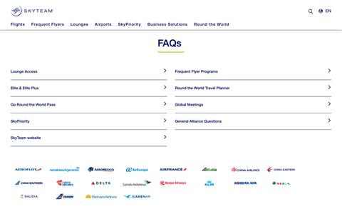 Screenshot of FAQ Page skyteam.com - SkyTeam - Frequently Asked Questions (FAQ) - captured Oct. 4, 2018