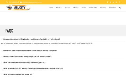 FAQs - All City Packers and Movers Pvt. Ltd.®