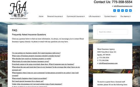 Screenshot of FAQ Page heuerinsurance.com - FAQ   Heuer Insurance in Sparks, NV   Heuer Insurance Agency - captured Nov. 8, 2016