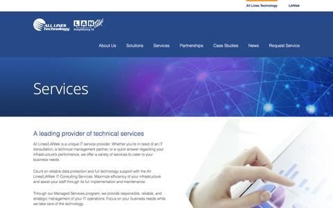 Screenshot of Services Page lantekcs.com - All Lines Technology  –  Services - captured Oct. 2, 2016