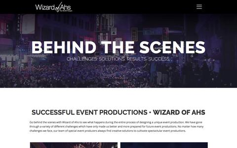Screenshot of Case Studies Page wizardofahs.com - Successful Event Productions in CLE & NYC - Wizard of Ahs - captured Sept. 21, 2018