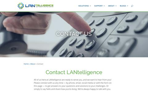Screenshot of Contact Page lantelligence.com - Contact - LANtelligence - captured July 14, 2018