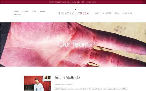 Screenshot of Team Page hickorycreekwinery.com - Team — Hickory Creek - captured July 19, 2018