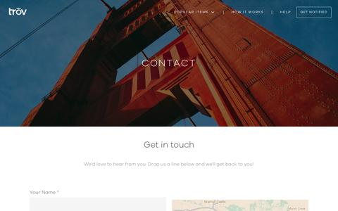 Screenshot of Contact Page trov.com - Contact Us - captured April 12, 2017