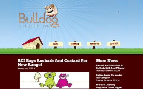Screenshot of Press Page bulldog-licensing.com - Bulldog Licensing –  BCI Bags Roobarb And Custard For New Range! - captured Sept. 30, 2014