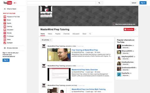 Screenshot of YouTube Page youtube.com - MasterMind Prep Tutoring  - YouTube - captured Nov. 3, 2014