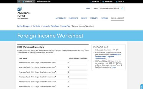 Foreign Income Worksheet