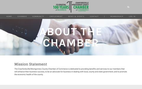 Screenshot of About Page crawfordsvillechamber.com - About - CRAWFORDSVILLE | MONTGOMERY COUNTY CHAMBER OF COMMERCE - captured July 3, 2018