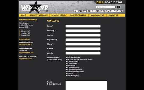 Screenshot of Contact Page warestar.com - Contact Us - Warehouse Shelving, Storage, Dock Levelers, Lift Equipment, Mezzanines, Conveyor Systems, Industrial Lighting from Warestar, Inc. - captured Oct. 7, 2014