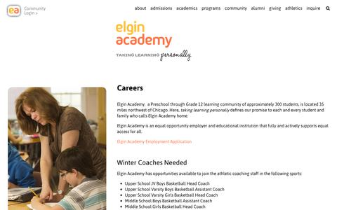 Screenshot of Jobs Page elginacademy.org - Careers at Elgin Academy - Personal Learning - captured Sept. 27, 2018