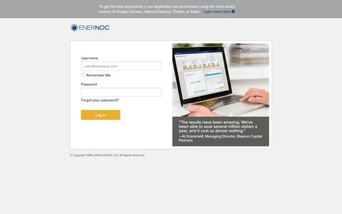 Screenshot of Login Page enernoc.com - EnerNOC - captured July 14, 2016