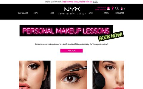 Screenshot of Services Page nyxcosmetics.com - Makeup Services - captured March 23, 2019