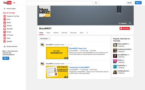 Screenshot of YouTube Page youtube.com - MusoMRKT  - YouTube - captured Oct. 29, 2014
