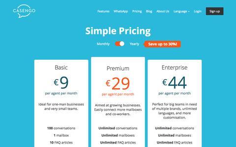 Screenshot of Pricing Page casengo.com - Casengo | Pricing - captured July 3, 2015