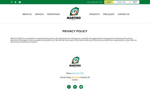 Screenshot of Privacy Page martinohvac.com - Privacy Policy - Martino HVAC - captured Oct. 17, 2017