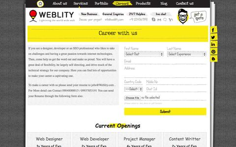 Screenshot of Jobs Page weblity.com - Web Development Company India,france Web Design Firm e-commerce Portal Developer Mobile App Design And Development Services - captured Oct. 7, 2014