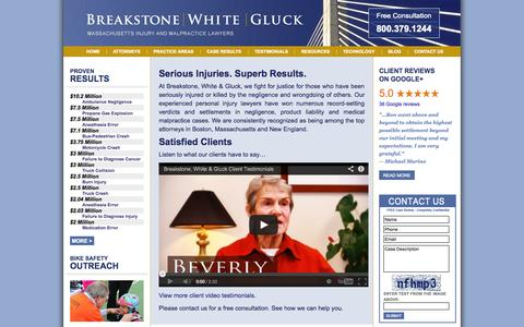 Screenshot of Home Page bwglaw.com - Boston Personal Injury Lawyer - Massachusetts Car Accident Attorney - Boston Accident Lawyers - Massachusetts Bike Accident Attorneys - captured Oct. 5, 2014