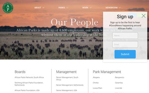 Screenshot of Team Page african-parks.org - Our People | African Parks - captured April 19, 2018