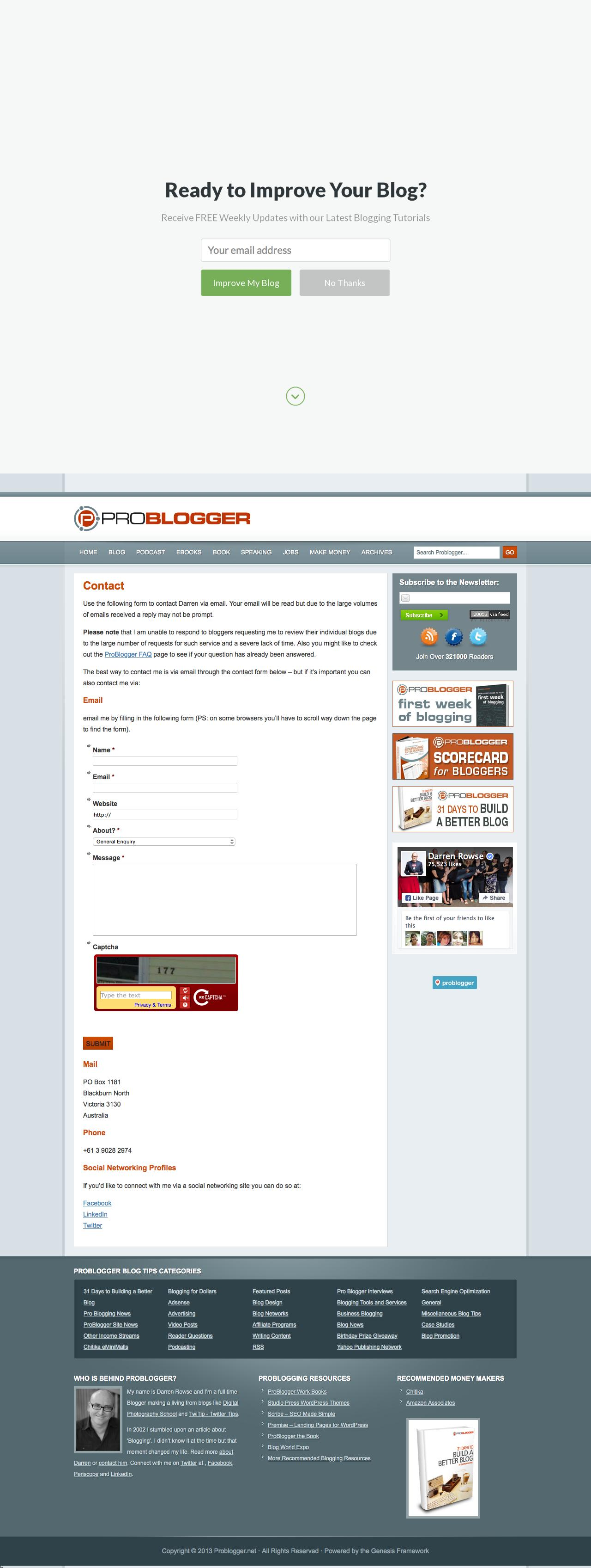 Screenshot of problogger.net - Contact - @ProBlogger - captured Nov. 4, 2015