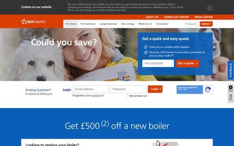 Screenshot of Home Page edfenergy.com - Gas & Electricity Suppliers for Home & Business | EDF Energy - captured Nov. 25, 2017