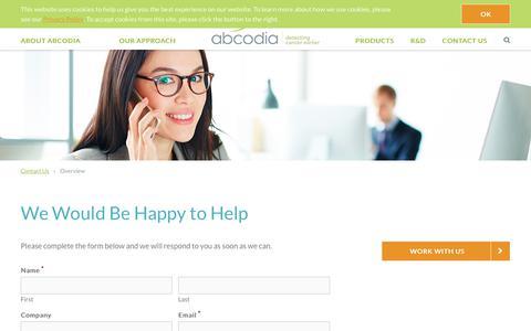 Screenshot of Contact Page abcodia.com - Contact Us Today | Abcodia - captured Oct. 7, 2017