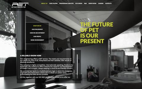 Screenshot of About Page petengineering.com - Pet Blow Moulding | P.E.T. Engineering - captured Oct. 28, 2014