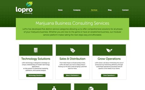 Screenshot of Services Page loproconsulting.com - Marijuana Dispensary Startup Consulting Services | LoPro Consulting - captured Sept. 30, 2014