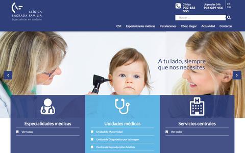 Screenshot of Home Page csf.com.es - Inicio | Clínica Sagrada Familia - captured Sept. 3, 2015