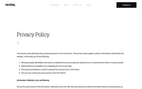 Screenshot of Privacy Page revize.com - Revize The Government Website Experts - captured June 22, 2018