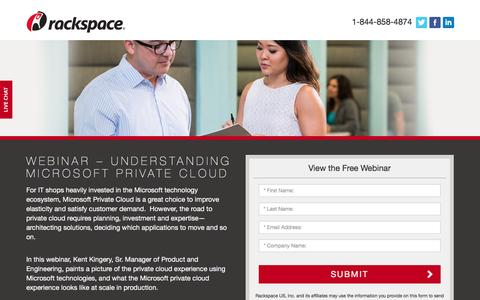 Screenshot of Landing Page rackspace.com - Rackspace | Deploying Microsoft Private Cloud at Scale - captured Aug. 19, 2016