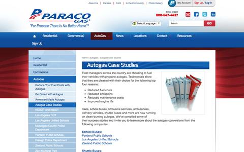 Screenshot of Case Studies Page paracogas.com - Autogas Case Studies | Alternative Fuels for Cars | Paraco Gas - captured Oct. 10, 2014