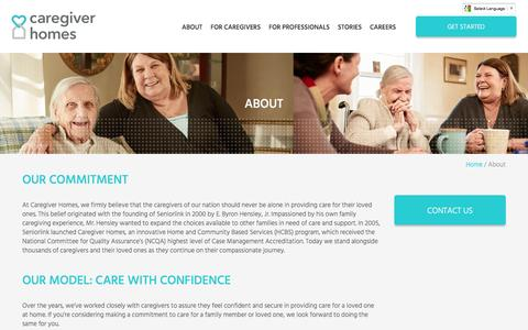 Screenshot of About Page caregiverhomes.com - About Our Caregiver Services | Caregiver Homes - captured July 3, 2016