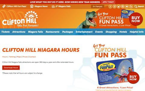Screenshot of Hours Page cliftonhill.com - Clifton Hill Niagara Hours | Clifton Hill, Niagara Falls Canada - captured Nov. 13, 2018